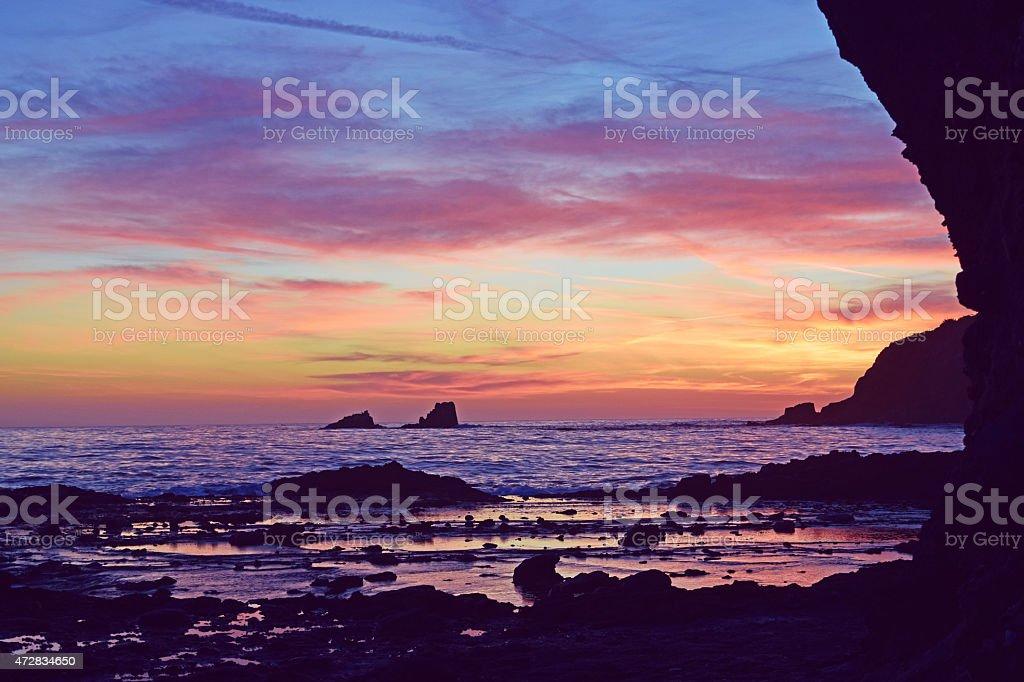 Fishermans Cove Purple Sunset Laguna Beach Stock Photo Download Image Now Istock