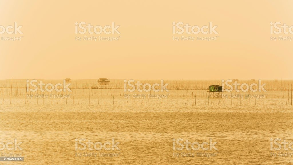 Fisherman's house in twilight time  ,  Thailand stock photo