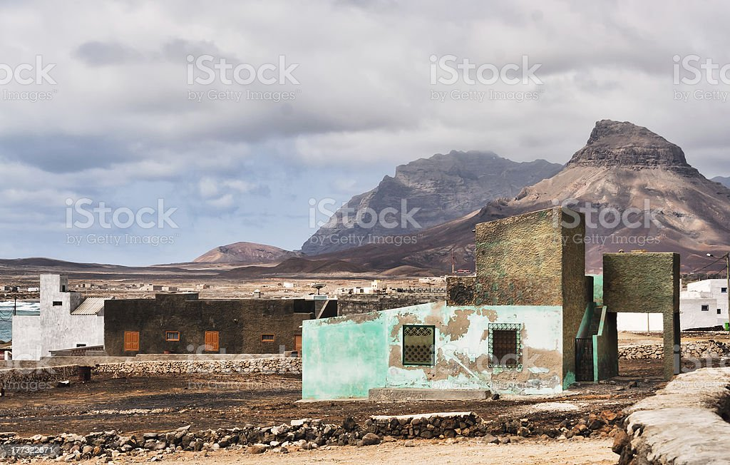 Fishermans hut in Cape Verde stock photo