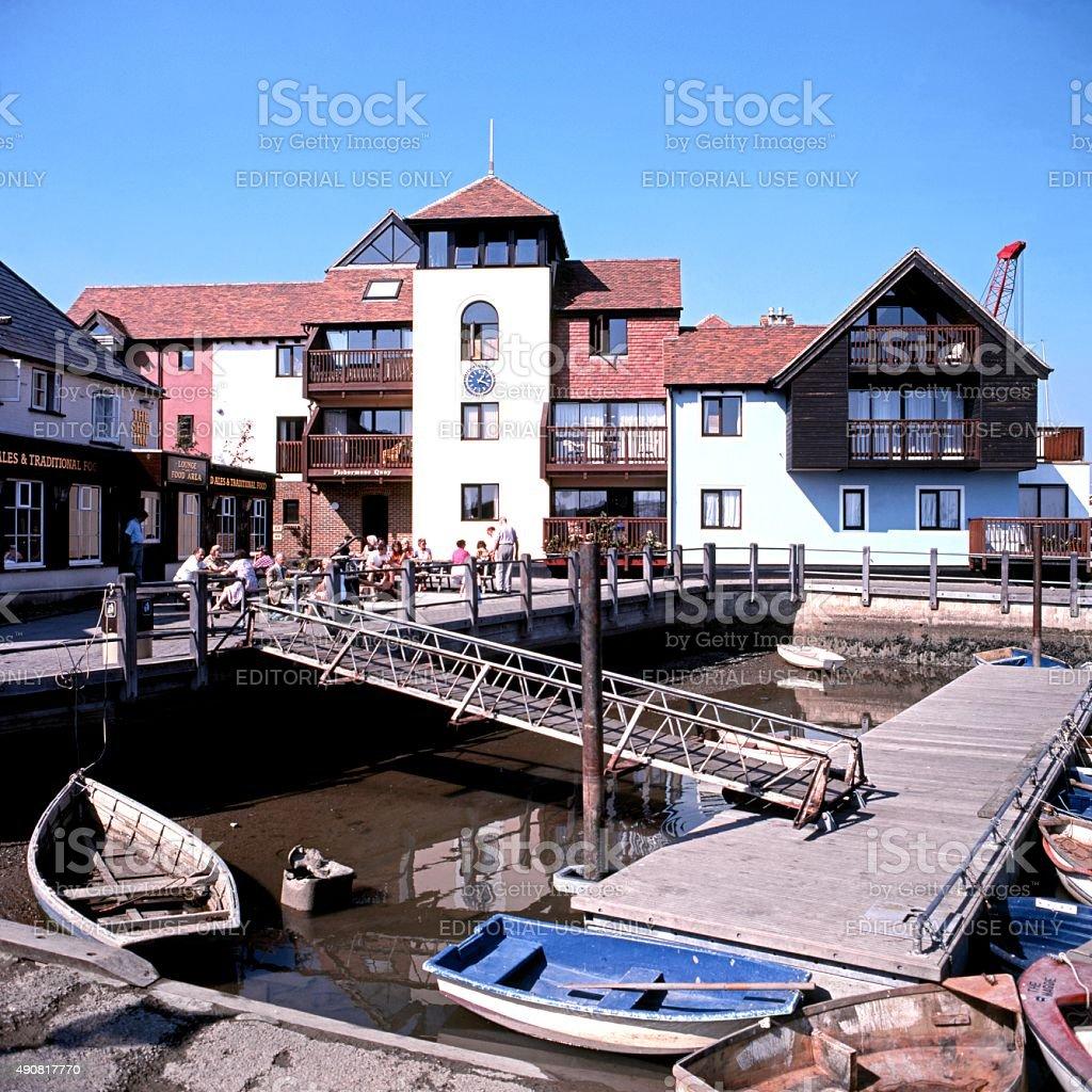 Fishermans Quay, Lymington. stock photo