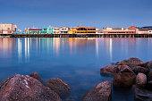 Fisherman's Wharf in Monterey, California, at nightfall.
