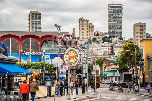 San Francisco, USA - November 4, 2017: Tourists walking down a street in Fisherman's Wharf neighborhood. Fisherman's Wharf has been the home base of San Francisco's fishing fleet since later 1800s. It is one of the busiest tourist attractions in California. Approximately 12 million tourists visiting Fisherman's Wharf every year.