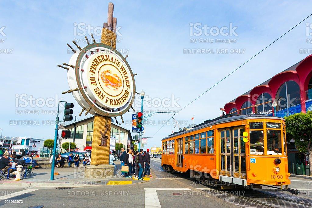 Fisherman's Wharf Sign San Francisco Cable Car stock photo