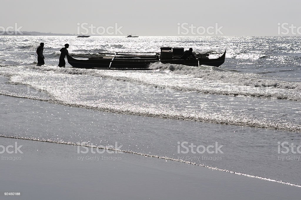 fishermen about to set sail royalty-free stock photo