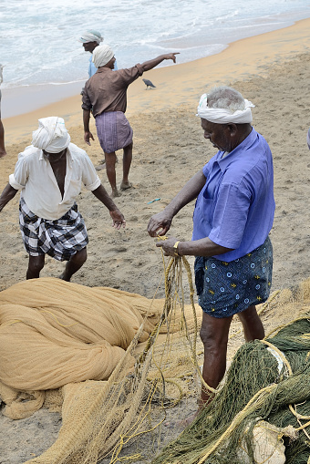 Kovalam, India – April  11, 2015. Traditional fishermen are pulling the seine (fishing net) from the sea in the beach of Kovalam.