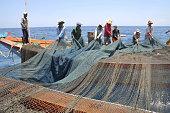 Nha Trang, Vietnam - May 4, 2012: Fishermen are trawling for tuna fish in the sea of Nha Trang bay in Vietnam