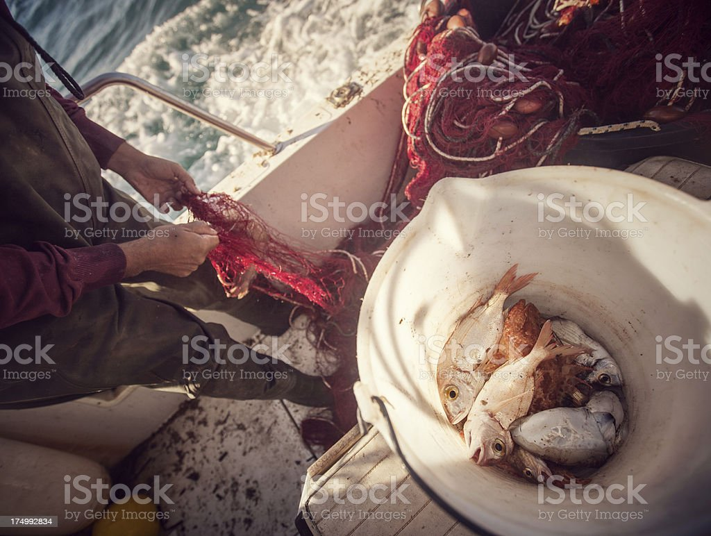 Fishermen at work, cleaning the nets royalty-free stock photo