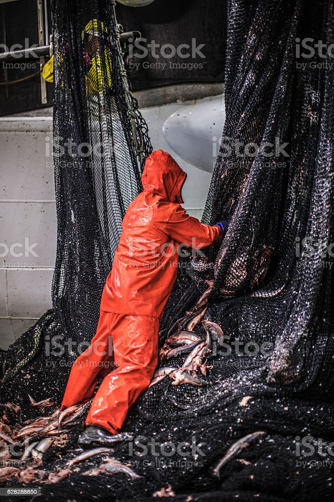 Fishermen at work: fixing the fishing nets stock photo