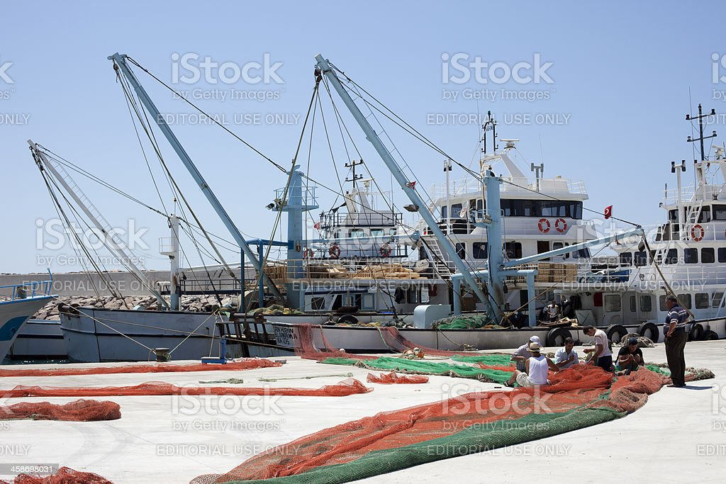 Fishermen, Babakale, Turkey stock photo