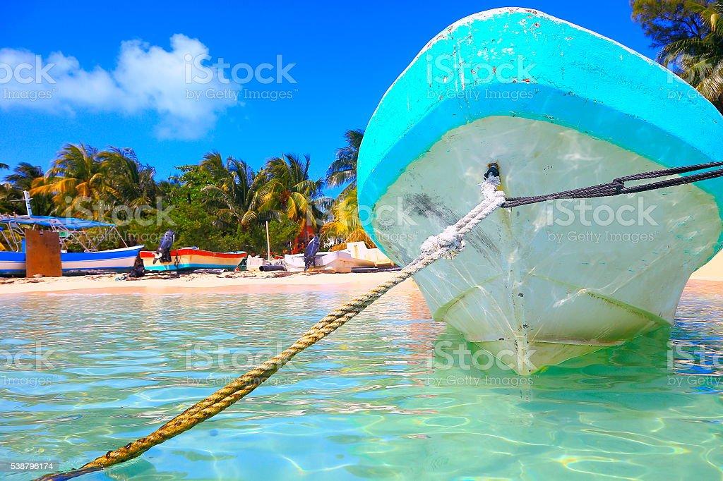 Fishermen boats, Cancun palm beach - caribbean tropical paradise stock photo
