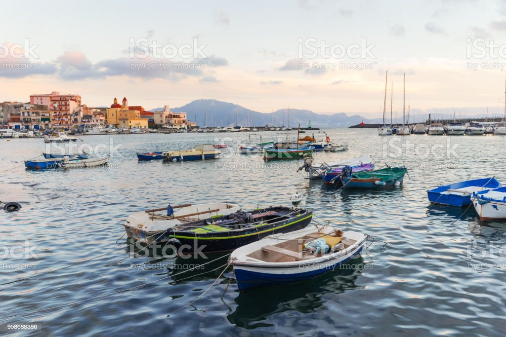 Fishermen boats in the port of Torre del Greco near Naples, Campania, Italy stock photo