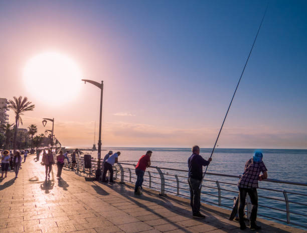Fishermen in Beirut, Lebanon stock photo