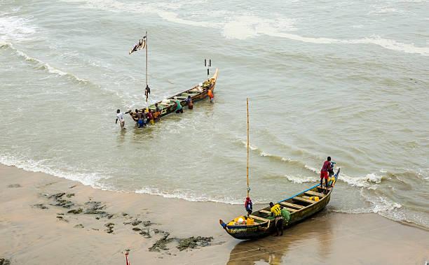 Fishermen in Ghana stock photo