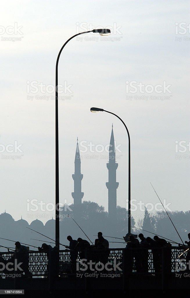 Fishermen in Istanbul royalty-free stock photo