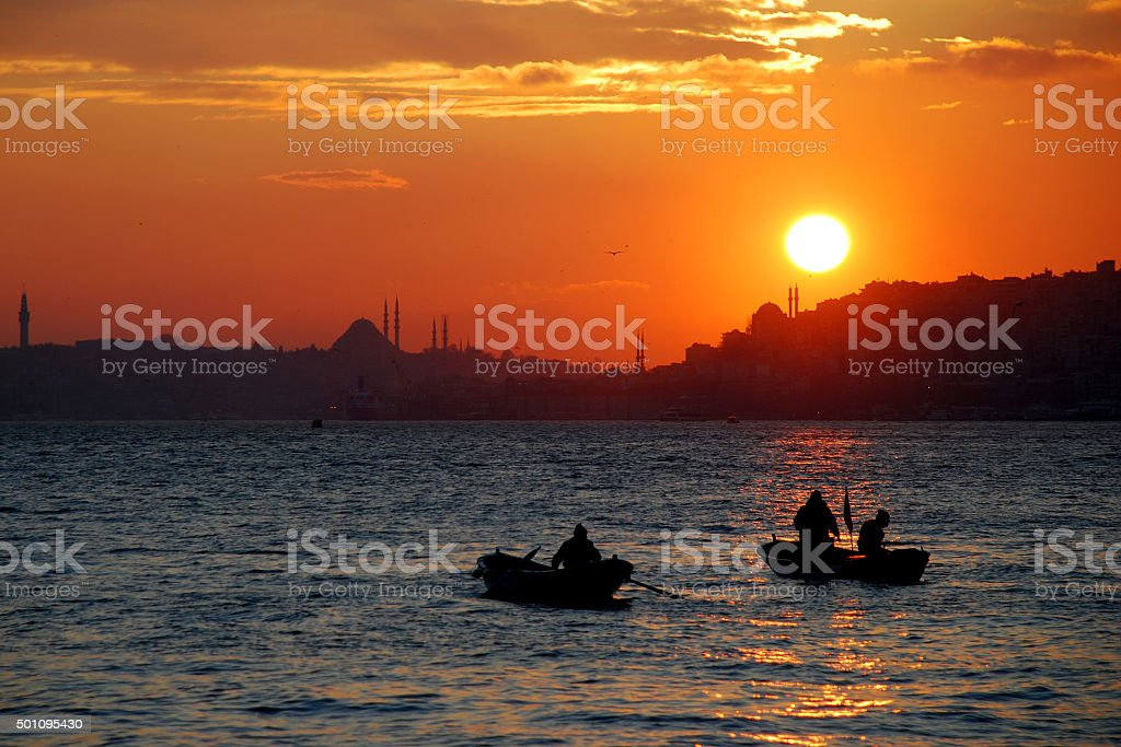 Fishermen in Istanbul stock photo