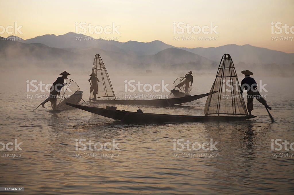 Fishermen, Myanmar royalty-free stock photo