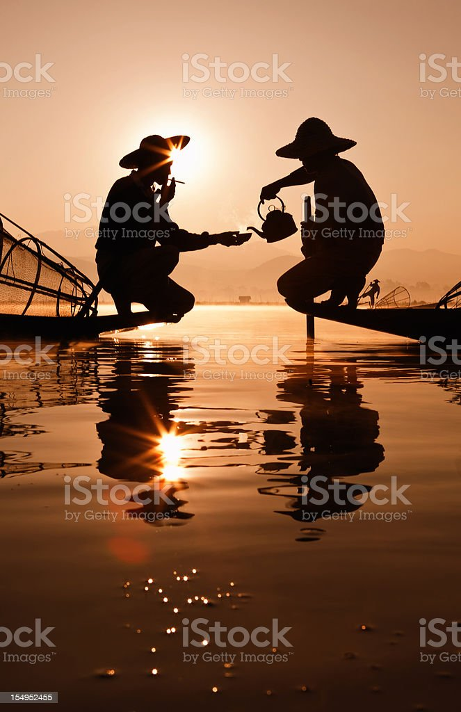 Fishermen ,Myanmar royalty-free stock photo