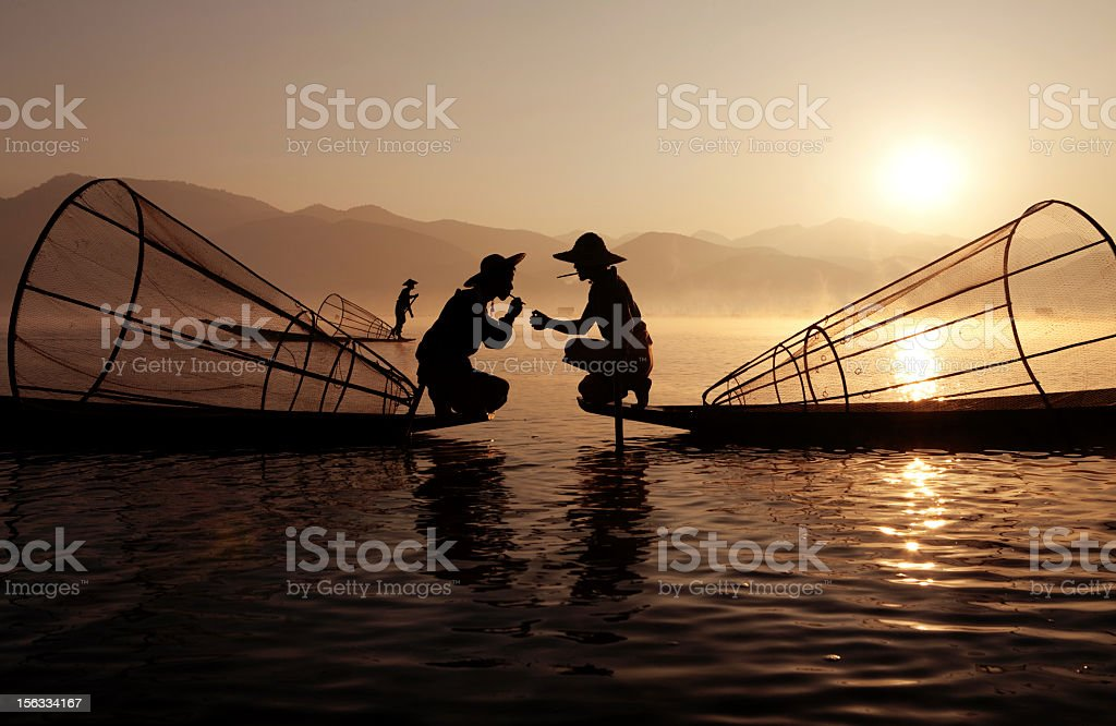 Fishermen, Myanmar stock photo