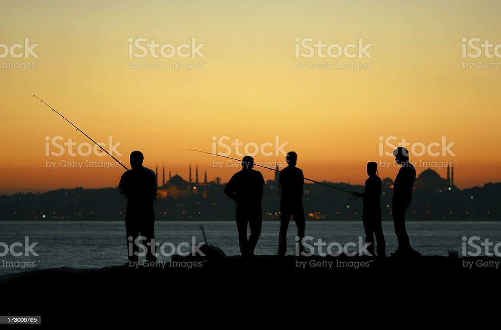Fishermen of Istanbul royalty-free stock photo