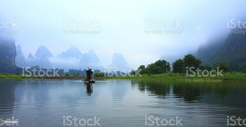 Fishermen on Li River royalty-free stock photo