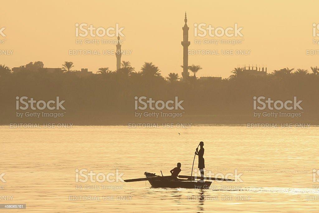 Fishermen on Nile River in Luxor, Egypt royalty-free stock photo