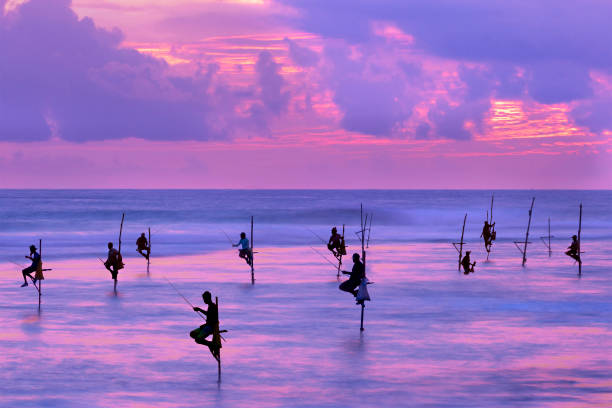 ゴール (スリランカ) 夕日にシルエットで竹馬に乗って漁師 - 漁師 ストックフォトと画像