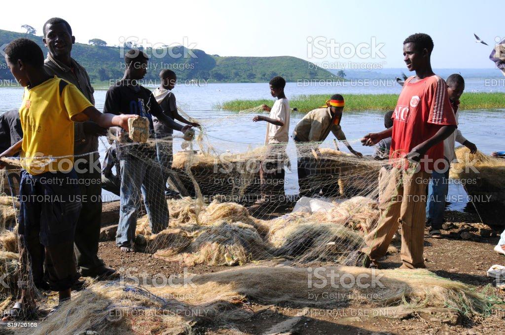 Fishermen (Awasa) stock photo