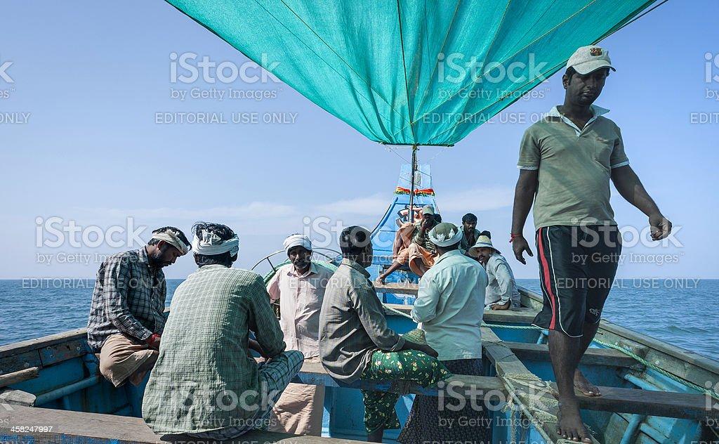 Fishermen set out to sea, Kannur, Kerala, India. royalty-free stock photo