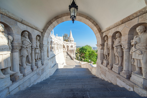 Hungary, Budapest, Tower of fishermen's bastion.