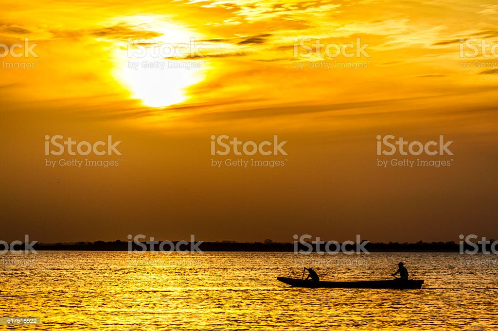 Fishermen's boats at Orinoco River, Caicara, Venezuela stock photo