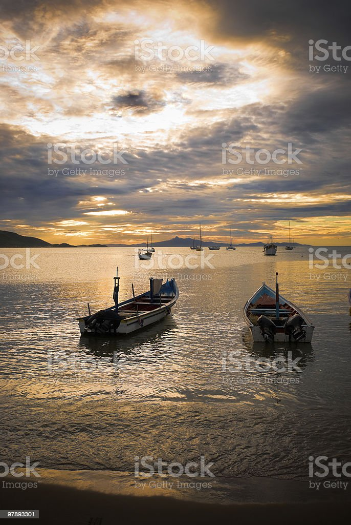 Fishermen's boats at Sunset royalty-free stock photo