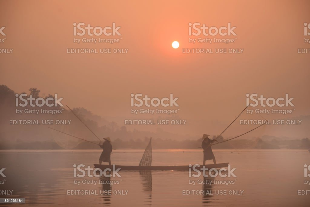 Fishery in Mekong river royalty-free stock photo