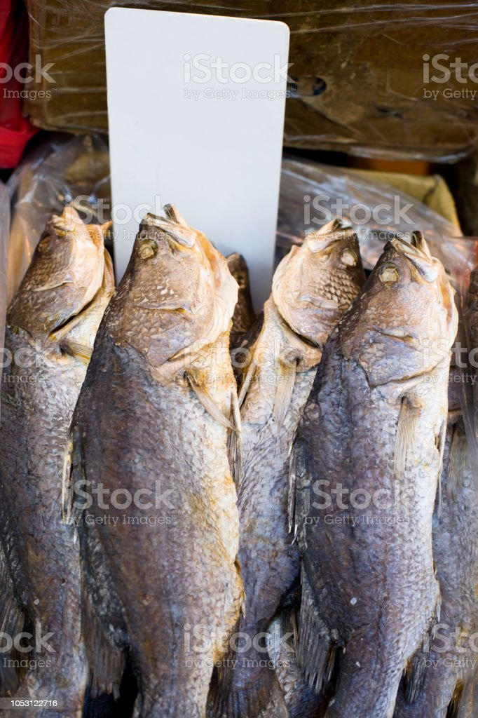 Fishes on the markets of Western Hong Kong with empty price tag stock photo