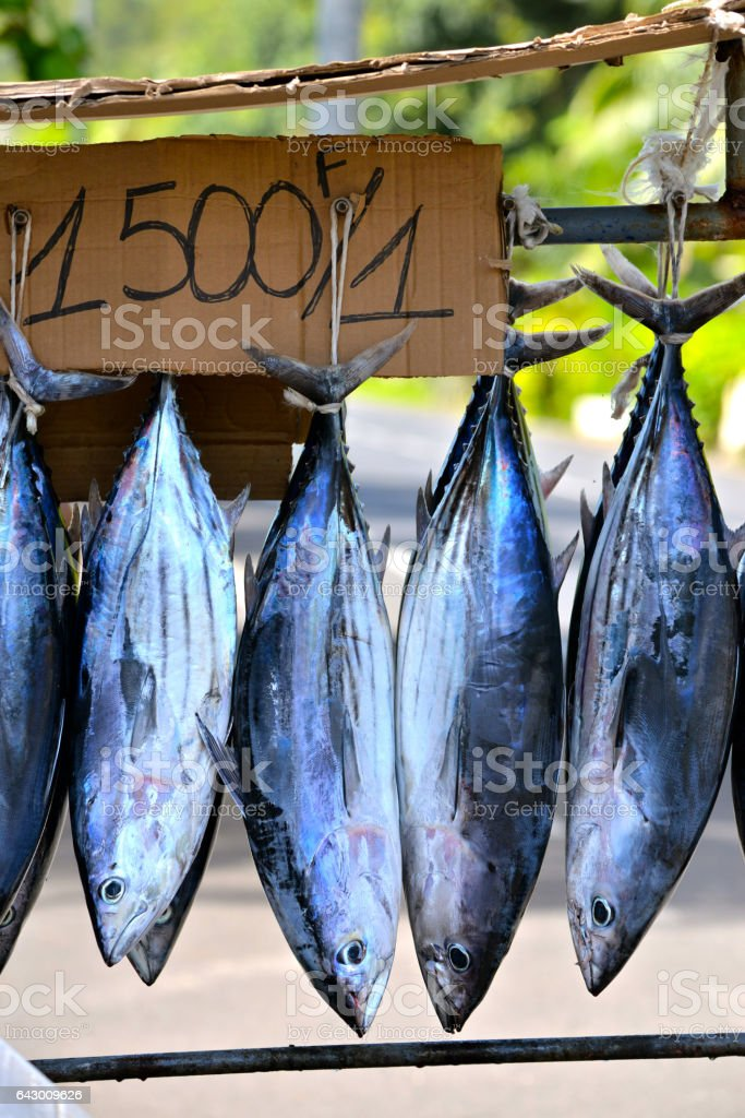 Fishes sold on the road, market stall stock photo