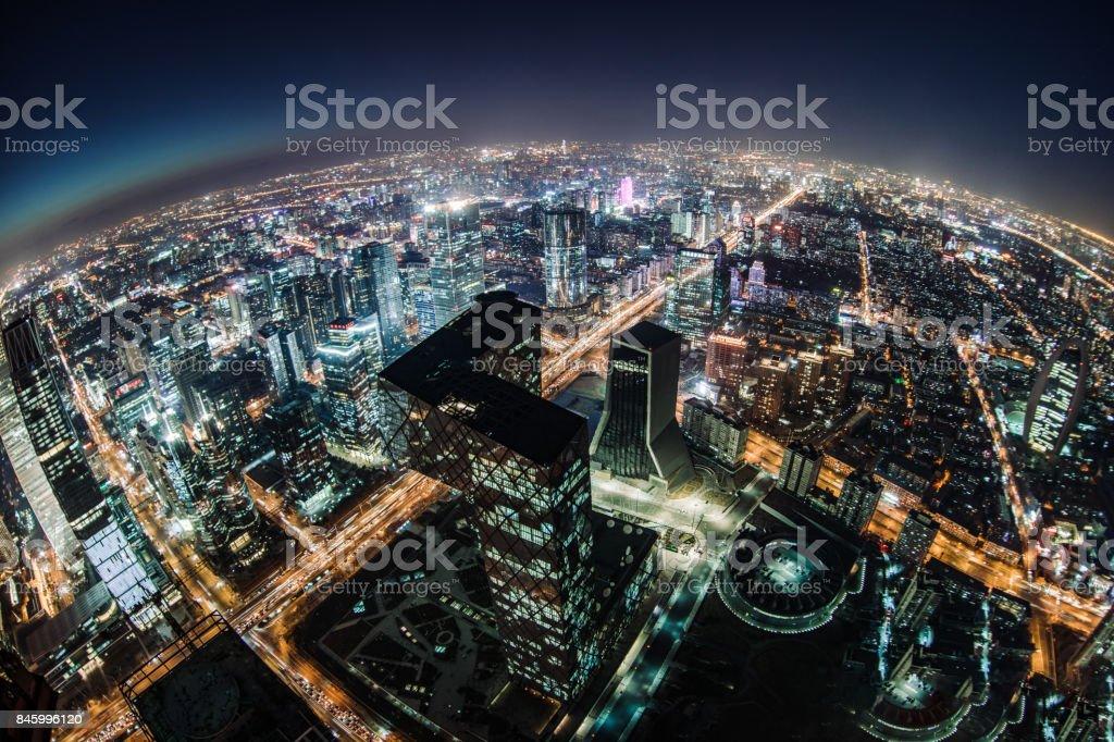 Fisheye and Aerial View of Beijing Skyline at Night stock photo