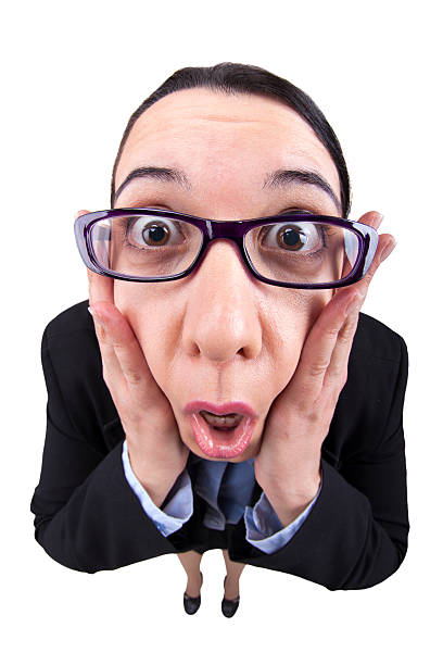 Fisheye Businesswoman Shocked A fisheye image of a business woman in a panic and shocked. fish eye lens stock pictures, royalty-free photos & images