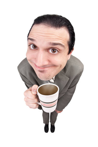 Fisheye Coffee Guy A highly caffeinated business guy. fish eye lens stock pictures, royalty-free photos & images