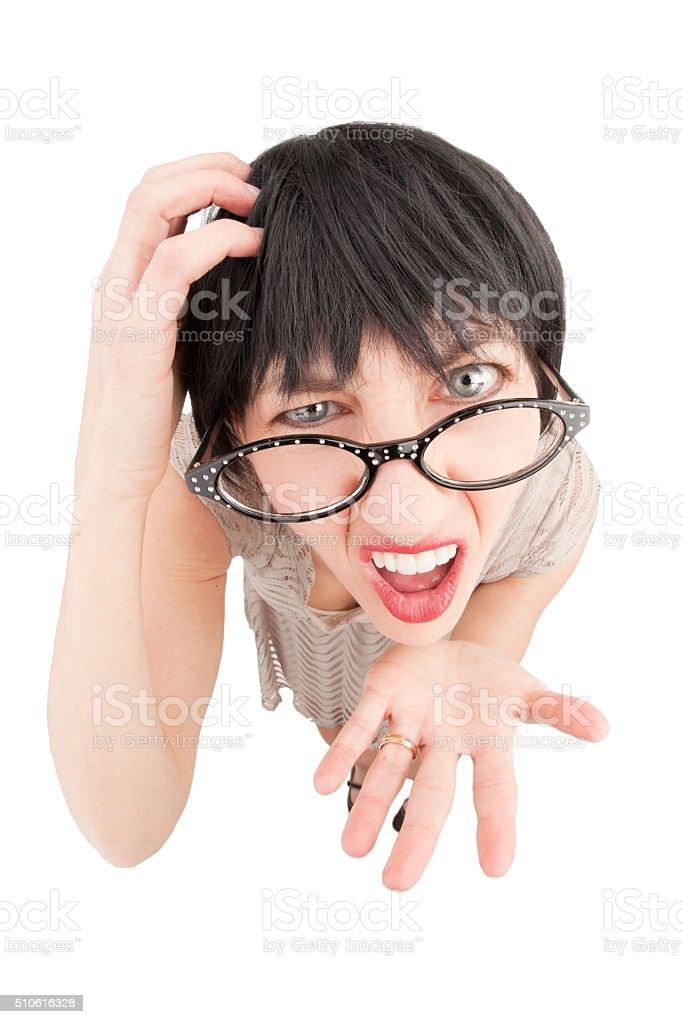 Fisheye Confused Annoying Woman stock photo