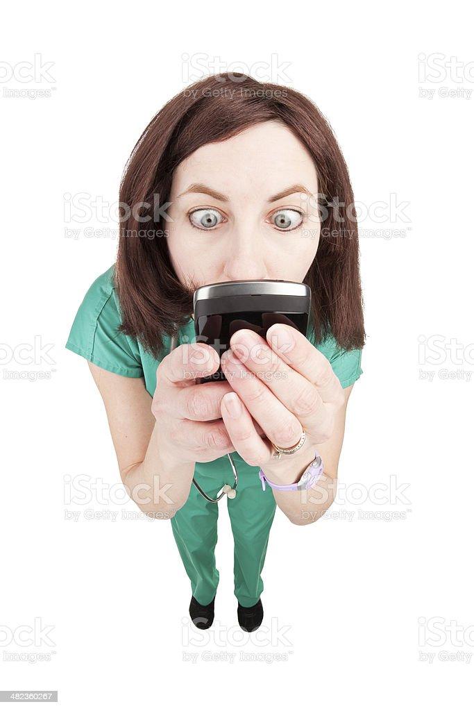 Fisheye Doctor Texting stock photo