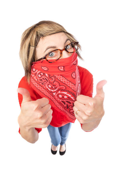 fisheye funny woman in bandana face mask - sdominick stock pictures, royalty-free photos & images
