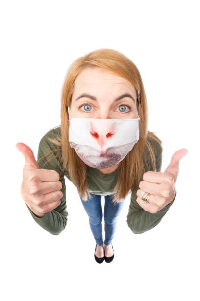 fisheye funny woman in cat face mask - sdominick stock pictures, royalty-free photos & images