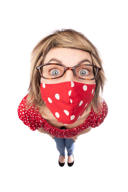 fisheye funny woman in coordinated face mask - sdominick stock pictures, royalty-free photos & images