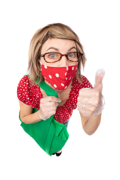 fisheye funny woman in face mask and gloves  giving thumbs up - sdominick stock pictures, royalty-free photos & images