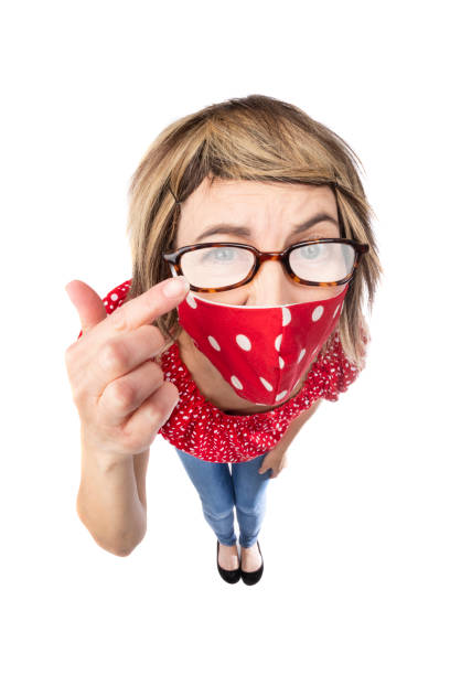 fisheye funny woman in face mask with foggy glasses - sdominick stock pictures, royalty-free photos & images