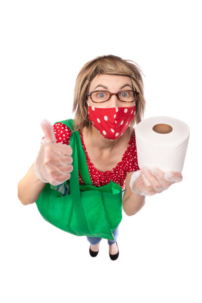 fisheye funny woman in face mask with toilet paper - sdominick stock pictures, royalty-free photos & images
