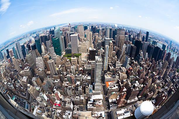 Fisheye Manhattan View Fish-eye aerial view of Manhattan, New York. fish eye lens stock pictures, royalty-free photos & images