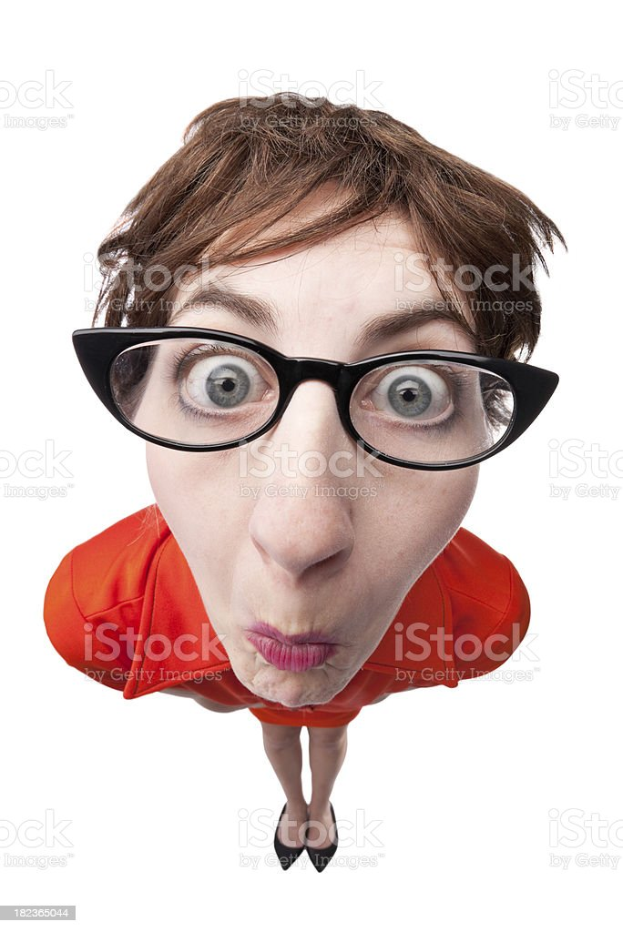 Fisheye Nerd Woman royalty-free stock photo
