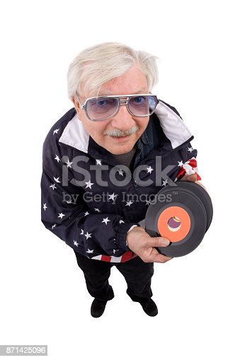 A fisheye image of a senior record collector holding 45's.