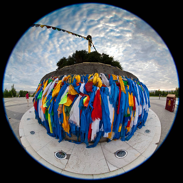 BUILDING: Fisheye photo of a Chinese minority's worship site stock photo