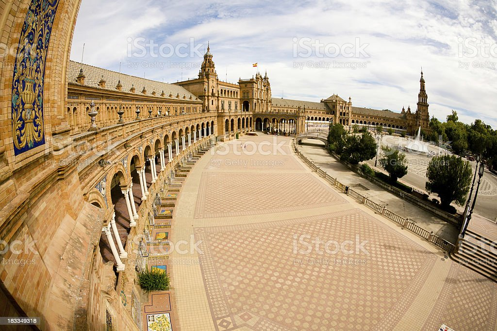 Fisheye photo of plaza de Espana royalty-free stock photo